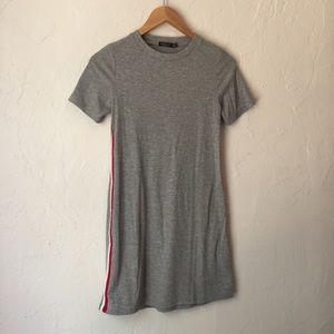 BERSHKA grey ribbed mini dress red white stripe S